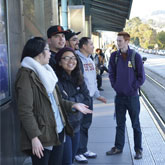 SF State Students waiting on the 19th Ave MUNI Platform